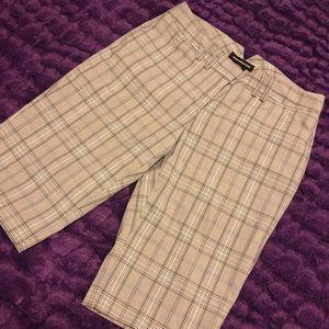 Grey Plaid Dress Shorts